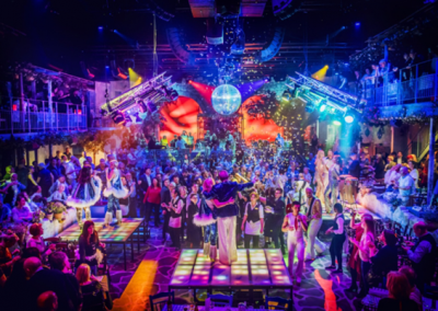 Building the atmosphere at the 'Mamma Mia' Party House